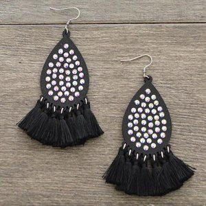 Black Rhinestone Tassel Earrings